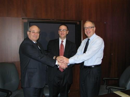 Right to left: Prof' David Skorton, Seth Pinksy, Prpf' Peretz Lavie